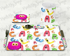 More details for kids monster mug placemat & coaster set , xmas/birthday table. great gifts.
