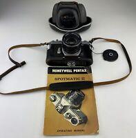 Asahi Pentax Spotmatic SPII 35mm SLR SMC Takumar 55mm f1.8 lens + case + Manual