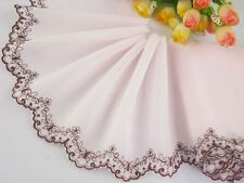 """5""""*1yard delicate embroidered flower on pink Chiffon lace trim for DIY 0263"""