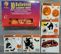 Vintage Halloween Plastic Mold Pumpkin Lights & Window Cling Ghost Bat Witch Lot