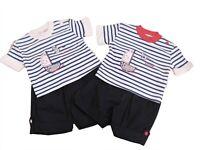 BNWT Baby Boys checked summer sailing ship 2 Piece dungaree /& top Set clothes