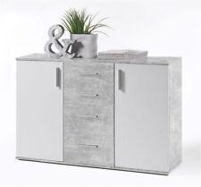 Kommode Bobby 5, Sideboard, Anrichte, Schrank, Weiß, Beton, 120 cm breit