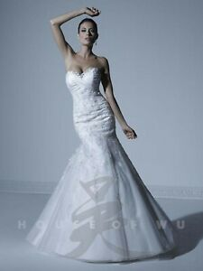 NWT Size 12 White and silver tulle and taffeta empire waist House of Wu 18868