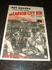 "THE CARSON CITY KID Original 1940 Movie Poster, 27""x41"", Roy Rogers, C6.5/Fine+"