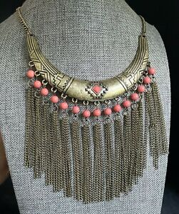 """NWT STEPHAN & CO Gold Tone Coral Color Statement Necklace 20"""" P02"""