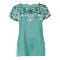 New M&S Marks & Spencer Womens Printed Satin Short Sleeve Round Neck T-Shirt Top
