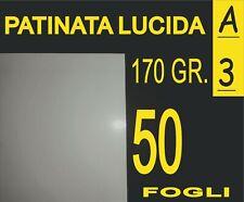 50 FOGLI A3 CARTA PATINATA LUCIDA X STAMPANTI LASER IDEALE X POSTER 170 GR