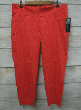 Soho Stretch Pants Womens Size 2X Pull-On Red Polka Dot Faux Pocket Ankle New
