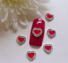 """3d Uñas de Arte de San Valentín """"Rojo Plata Rhinestone Corazones"""" curvas de aleación de metal 10pc"""