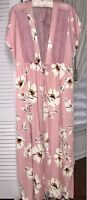 NEW XL Pink Long Kimono Duster Ivory Floral Tie Maxi Jacket Topper
