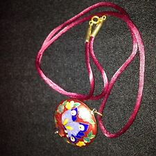 Beautiful VTG Burgundy Cloisonne Gold Tone Butterfly Pendant Satin Cord - EUC