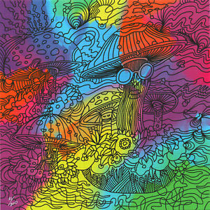 PSYCHEDELIC MUSHROOM V.2 BY HOWIE GREEN - NUMBERED LIMITED EDITION BLOTTER ART
