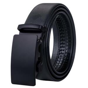 Luxury Automatic Buckles Mens Belts Black Real Leather Ratchet Waistband Straps
