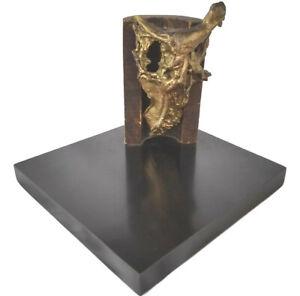 Dina Recanati (b. 1928 Egypt) Brutalist Sculpture Bronze and Wood, 1974