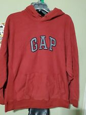 Gap Vintage Red Hoodie Heavy Warm Fleece Pullover Spellout Mens Size Large EUC