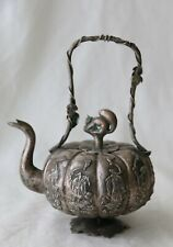 Antique Chinese Silver Tea Pot w Squirrel Finial, Late Qing Dynasty