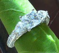 2.75ct Princess Cut Pear Shape Diamond Engagement Ring Solid 14k White Gold