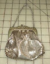 "Vtg Whiting And Davis Co SILVER 4"" x 4"" Clutch Purse with 5"" Chain & Clasp"
