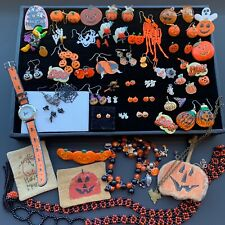 59 pc Halloween Jewelry Lot ~Wearable earrings, pins, necklace, bracelet, Watch