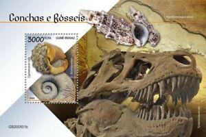 Guinea-Bissau Seashells & Fossils Stamps 2020 MNH Dinosaurs Ammonites 1v S/S