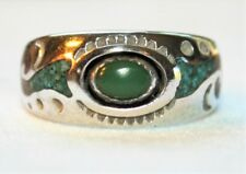 VINTAGE NAVAJO  STERLING SILVER TURQUOISE CORAL RING CIRCLE JW JACK WHITTAKER