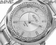Women's August Steiner AS8122SS Swiss Quartz Diamond & Crystal Bracelet Watch
