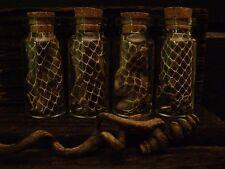 4 GLASS BLACK SNAKESKIN BOTTLES magic POTION JARS snake skin CURIO JARS LOT