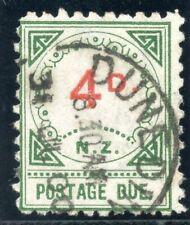 New Zealand 1899 QV Postage Due 4d vermilion & green VF used. SG D16. Sc J5.