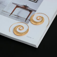 Fashion Alloy Round Circles Spiral Tribal Hoop Ear Stud Earrings Women's Jewelry F Gold