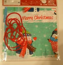 2 PACK - Giant Plastic Christmas Sacks Xmas Bags Including rope ties Children's