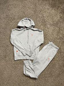 Polo Ralph Lauren 2PC Sweat Suit Medium Gray Orange Pony PRE-OWNED