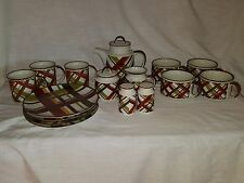 "Vintage Tableware Set ""Suntrails"" by Enesco Multi Colored Large Plaid (18 pcs.)"