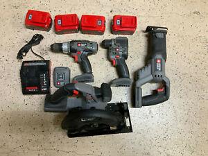 Porter Cable power tool set- drill, driver, recip saw, circular saw, 4x batt