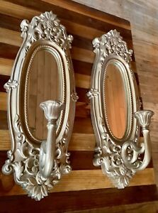 Vintage pair Homco Home Interiors Gold Wall Mirror Candle Holders Set
