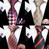 Plaids Checks Mens Silk Tie Necktie set Classic Blue Red Orange Purple Colors