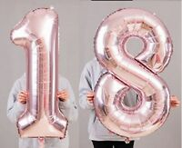 """18th Birthday Party 40"""" Foil Balloon HeliumAir Decoration Age 18 Rose Gold lite"""