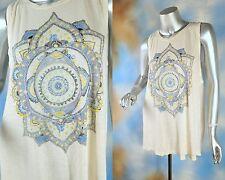 NEW LUCKY LOTUS geometric yoga keyhole back high low tank top blouse shirt L