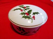Vintage Porcelain Christmas Holly Leaves Gold Trim Trinket Box Candy Dish