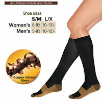 New in Celophane Wrap Unisex Miracle Copper Anti-Fatigue Compression Socks L/XL