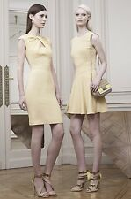 ELIE SAAB Gold Twisted Cut Out Cap Sleeve Dress 40 8