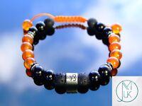 Capricorn Carnelian Onyx Birthstone Bracelet 6-9'' Macrame Healing Stone Chakra