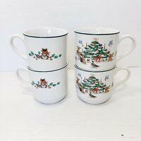 Vintage Ming Pao Woodland Christmas Coffee Tea Cups Mugs Animal Forest Cottage