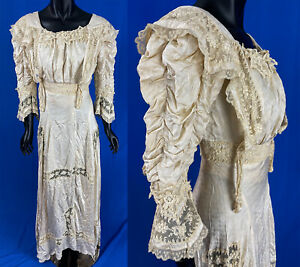 Vintage Edwardian Cream Silk Damask Ruched Sleeve Lace Trim Wedding Gown Dress
