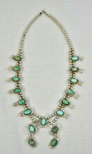 Antique Turquoise & Sterling Squash Blossom Necklace (TKW)