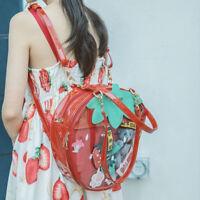 New Transparent Lolita Strawberry Backpack Handbag Casual Tote Shoulder Bag Gift