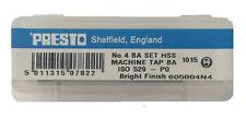Presto UK 4BA Taps set of 3 HSS First, Second & Plug / Direct from Myford ltd