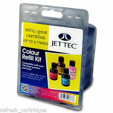 JET TEC COLOUR INK REFILL KIT FOR OVER 750 PRINTERS INC EPSON HP BROTHER CANON