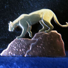 Handmade Signed /  Dated Cougar on Mountain Pin Copper and Gold Colored