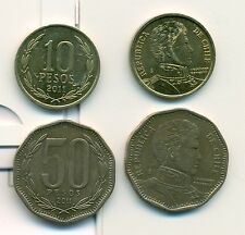 2 NICE COINS from CHILE - 10 & 50 PESOS (BOTH DATING 2011).