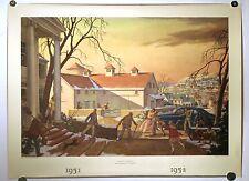 VTG 1952 LITHOGRAPH PRINT T.M. CLELAND 'HOME-COMING' HARRIS OFFSET PRESS TM ART